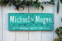 """Beautiful Family Last Name Established Wood Wall Art Decor Sign. Perfect for the home! """"Michael and Megan- Osborne"""" by Jetmak Designs"""