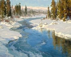 Winter Scenery by Clyde Aspevig Painting Snow, Winter Painting, Artist Painting, Watercolor Landscape, Landscape Art, Landscape Paintings, Sea Paintings, Digital Paintings, Clyde Aspevig