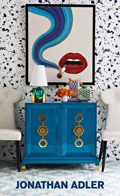 Design exactly what you want. Jonathan Adler lets you customize upholstery and case goods. Mix and match colors, fabrics, and hardware finishes.