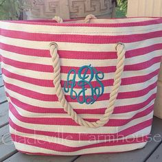 Monogrammed Beach Tote Drawstring Closure With Rope Handles