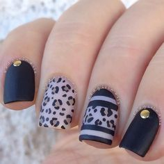 Black Leopard Print Nails - Magnet Look Fancy Nails, Trendy Nails, Love Nails, My Nails, Fabulous Nails, Gorgeous Nails, Leopard Print Nails, Leopard Prints, Luxury Nails