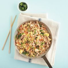 Tangy Fried Rice With Pork Fast, fresh and better than takeout, this veggie-rich meal is an easy weeknight go-to when you're in a hurry. Stir Fry Recipes, Rice Recipes, Pork Recipes, Asian Recipes, Cooking Recipes, Healthy Recipes, Ethnic Recipes, Easy Stir Fry, Rice Dishes