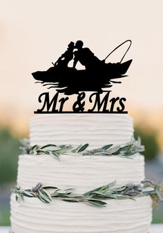 Mr And Mrs Wedding Cake Topperfishing Couple In Boatwedding Decoration By Balmaindesign