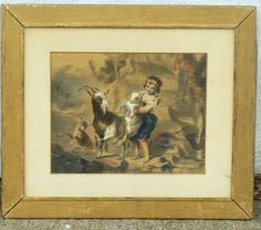 CHARMING W/C OF YOUNG BOY WITH THREE GOATS,WELL DONE,OLD! #Realism