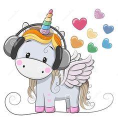 Illustration about Cute Cartoon Unicorn with headphones and hearts. Illustration of computer, child, fairytale - 90293649 Unicorn Fantasy, Unicorn Art, Cute Unicorn, Cartoon Mignon, Baby Poster, Bebe Love, Unicorn Pictures, Cartoon Unicorn, Unicorns And Mermaids