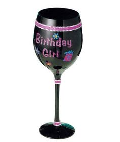 """Grasslands Road Simply Fabulous Happy Birthday Girl Wine Glass by AMSCAN. $15.00. 20oz capacity. Black glass wine glass with pink and clear crystals and glitter. Message reads """"Birthday Girl"""". The perfect gift! Celebrate in style with our Simply Fabulous Happy Birthday Wine Glass. Featuring colorful gems and glitter on a food safe glass goblet that holds 20 oz."""