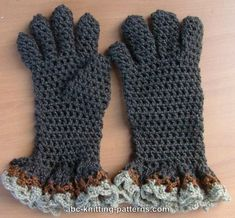 Gloves with Ruffle free crochet pattern