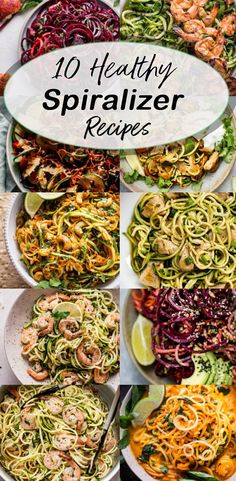 These 10 healthy spiralizer recipes are easy, delicious, low-carb, and simple to make. You just need a spiralizer and you're on your way! Zoodle Recipes, Spiralizer Recipes, Vegetarian Recipes, Cooking Recipes, Healthy Recipes, Spiralized Veggie Recipes, Lunch Recipes, Free Recipes, Bright Line Eating Recipes