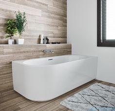Riho Desire half vrijstaand bad (Back To Wall) x cm Light Grey Bathrooms, Dream Bathrooms, Luxury Kitchen Design, Bathroom Interior Design, Bathroom Kids, Bathroom Layout, Bad Inspiration, Bathroom Inspiration, Bathtub Walls