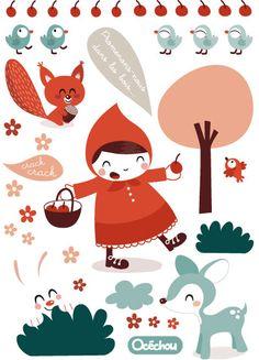 Les Contemplatives, Stickers enfants - Autocollants muraux par Océchou - Chambre enfants deco
