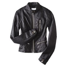 Xhilaration® Junior's Faux Leather Motorcycle Jacket -Assorted Colors