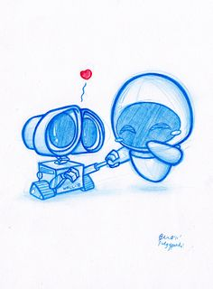 Look at wall-e go. what a ladies man. laaddiieess. A5 size (8.3 x 5.8 in) Col Erase pencil on paper Monday 12th Sept 2011 SOLD!