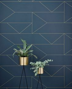 The Ferm Living Plant Stand is beautiful way to display your flowers. Buy Ferm Living designs today from Utility. Wallpaper Accent Wall Bathroom, Wall Wallpaper, Lines Wallpaper, Wallpaper Ideas, Black Wallpaper, Office Wallpaper, Ferm Living Plant Stand, Deco Design, Wall Design