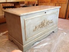 Cedar chest painted in Paris grey with white highlights and dark wax