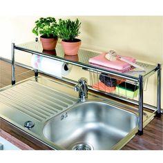 Over-the-sink shelf. A fantastic idea for organisation in tiny kitchen! Kitchen Sink Organization, Sink Organizer, Kitchen Storage, Smart Kitchen, Kitchen Small, Over Sink Shelf, Kitchen Design, Kitchen Decor, Kitchen Ware
