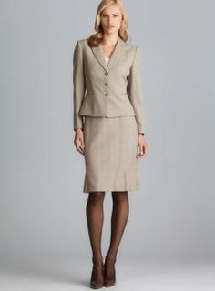 Tahari Three Button Plaid Skirt Suit