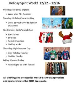 Holiday/ Christmas spirit week flyers 2016 - All About Events Christmas Dress Up, Office Christmas, 12 Days Of Christmas, Christmas Holidays, Xmas, Spirt Week Ideas, Spirit Week Themes, Holiday Themes, Christmas Themes