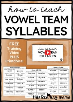 Are your learners ready to learn how to find and decode longer words with vowel team syllables? You'll love this training video and freebie! Phonics Reading, Teaching Reading, Reading Lessons, Guided Reading, Word Study, Word Work, Wilson Reading Program, Teaching Vowels, Making Words