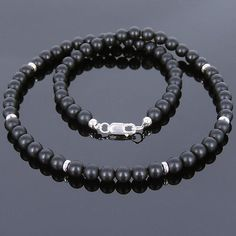 Men's Handmade Necklace 6mm Matte Black Onyx Gemstone Sterling Silver Clasp