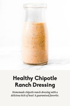 Incredibly delicious healthy chipotle ranch dressing made with greek yogurt. This creamy dressing or dip has a kick of heat and will be a new favorite to drizzle on tacos or southwest inspired meals and is delicious for dipping sweet potato fries in. Southwest Salad Dressings, Homemade Dressing Recipe, Homemade Healthy Salad Dressing, Dressing For Taco Salad, Taco Dressing Recipe, Creamy Salad Dressing, Homemade Ranch Dressing, Chipotle Ranch Dressing, Kitchen