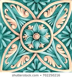 ornaments on the tiles watercolor, pain, Italy Majolica, floral ornament Mosaic Patterns, Pattern Art, Turkish Pattern, Tile Art, Mosaic Tiles, Beautiful Flowers Wallpapers, Blue Pottery, Decoupage Paper, Flower Wallpaper