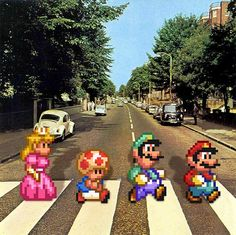 Super mario Bros version of Abbey Road by the Beatles Abbey Road, Culture Pop, Geek Culture, Super Mario Bros, Super Mario World, Geeks, Pixel Art, Deco Gamer, Game Of Life