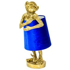 Antique Gold Bashful Monkey Table Lamp With Blue Velvet Shade , Antique Bashful Blue Gol. : Antique Gold Bashful Monkey Table Lamp With Blue Velvet Shade , Antique Bashful Blue Gold homeaccessoriesquirky Lamp Monkey shade Table Velvet Antique Gold Bash Unusual Table Lamps, Unusual Furniture, Unique Lamps, Pottery Barn, Quirky Home Decor, Or Antique, Blue Velvet, Home Decor Accessories, Lights
