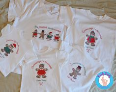These sweet tees are a fun way for you and grandchildren to celebrate Christmas together in style. Each childs shirt features a girl or boy gingerbread kid along with their name and text that reads Gramma says Im the sweetest. The grandmother shirt features all of the grandchildren gingerbread kids with their names and the text reads My grandkids are the sweetest. All of these shirts are made on white t-shirts.  All of our products are made to order so if you need additional gingerbread kid…