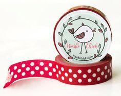 Red Polka Dot Washi Tape - 1 roll, 15mm x 10m, decorative masking tape, deco tape
