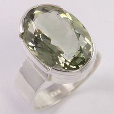 925 Sterling Silver Ring Size US 8 Natural GREEN AMETHYST Gemstone FREE SHIPPING #Unbranded