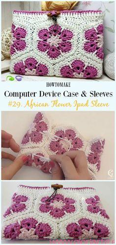 African Flower Ipad Sleeve Free Crochet Pattern Video - #Crochet Computer #Device Case Cozy Sleeves Free Patterns