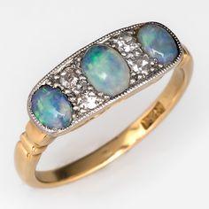 Victorian+Opal+Ring+w/+Single+Cut+Diamonds+18K+Gold