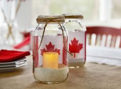 Brighten your home or patio with these patriotic Canadian Flag Mason Jar Votive Holders. Canada Day 150, Happy Canada Day, Mason Jar Crafts, Mason Jar Diy, Canada Day Crafts, Canada Day Party, Canada Holiday, Big Dot Of Happiness, French Country Decorating