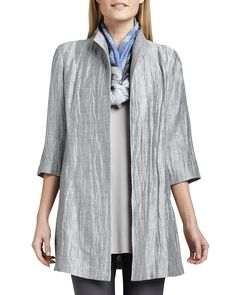 Washable Crinkle Sheen Jacket, Petite, Dark Pearl - Eileen Fisher