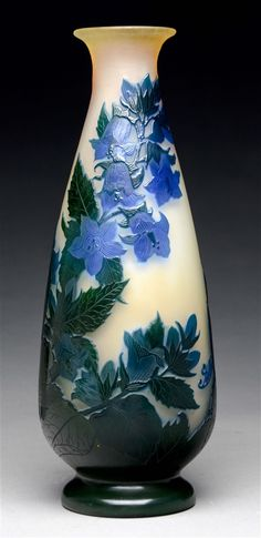 Galle Morning Glory Cameo Vase.