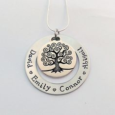 Personalised family tree necklace - personalized present for mum mom - Gift for nanny grandma - family name necklace - birthday present by EmsStampedJewellery on Etsy
