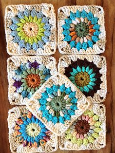 Sunburst granny square. | These are some of the 'teal' batch… | Flickr