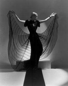 Helen Bennett in spider dress, Photo by Horst P. Bergdorf Goodman, Vogue Paris, Palm Beach, Horst P Horst, Satin Dresses, Prom Dresses, Vintage Mode, 20th Century Fashion, Hollywood