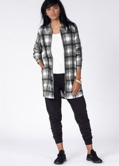 With a unique design and premium construction, this long sleeve shirt-weight jacket will elevate your streetwear game. The extra long cut and killer plaid print are perfect for pairing with your favorite slouchy joggers. By Stussy.