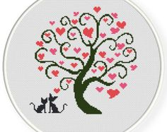 INSTANT DOWNLOAD,Free shippingCounted Cross stitch pattern,Cross-Stitch PDF,Love tree,valentine's day, zxxc0400