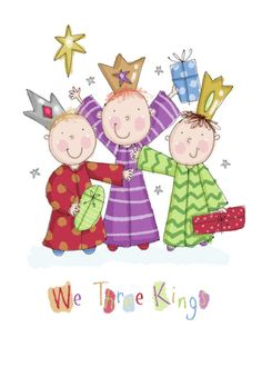 Helen Poole - We Three Kings Christmas Manger, Christmas Art, Christmas Ideas, Illustration Noel, Christmas Illustration, Painting For Kids, Drawing For Kids, Nativity Clipart, Doodle People
