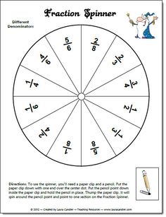 Fraction Spinner freebies from Laura Candler