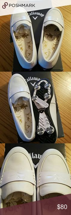 Callaway women's golf leather moccasin White size 9 women's Callaway golf moccasin new never worn ware proof chevron comfort spike for ultimate traction Callaway Shoes Athletic Shoes