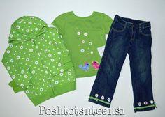 Gymboree Showers of Flowers Birds Floral Top Hoodie Jeans Set 7-8 6 5t sl1-2 #Gymboree