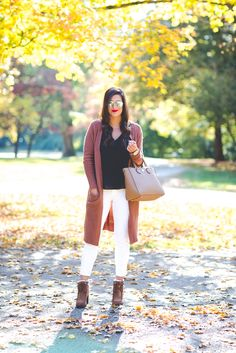 long cardigan, cute fall outfit, ivory corduroys, fall booties, fall fashion, fall leaves // grace wainwright from a southern drawl