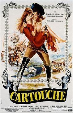 """Картуш (1961)XVIII век. Франция. Завоевав любовь прекрасной цыганки Венеры (Клаудия Кардинале), парижский разбойник Доминик (Жан-Поль Бельмондо) взял себе кличку """"Картуш"""" и стал настоящим французским Робин Гудом."""