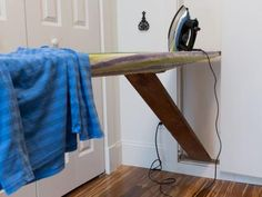 Looking for more storage? Try inside your walls. A salvaged ironing board, mounted in the wall between the studs, saves on space. When you're done, just flip it up and it's hidden. Laundry Room Organization, Organization Hacks, Ironing Board Storage, Ironing Boards, Closet Hacks, Cleaning Closet, Laundry Closet, Small Laundry, Laundry Rooms