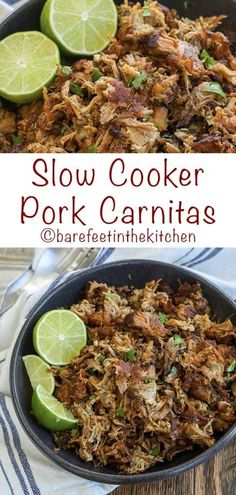 Cooker Pork Carnitas are crispy, juicy, irresistible bites of pork! get the recipe at Slow Cooker Pork Carnitas are crispy, juicy, irresistible bites of pork! Healthy Slow Cooker, Slow Cooker Recipes, Pork Recipes, Mexican Food Recipes, Cooking Recipes, Slow Cooker Dinners, Family Recipes, Easy Recipes, Recipies