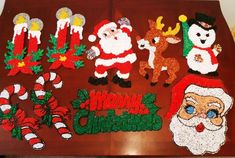 Lot Of 9 Vtg Melted Plastic Popcorn Christmas Decorations 1960s 70s Retro Kitsch Unbranded Merry Christmas Sign Vintage Christmas Ornaments Vintage Christmas