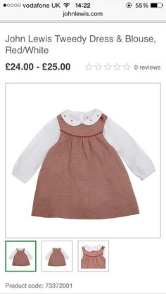A/W GIRLS TWEED TUNIC WITH ATTACHED WHITE COTTEN BLOUSE  18 mnth - 3 yr JL